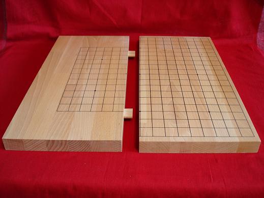 склдная двусторонняя доска для игры в Го, японский стандарт, на деревянных штифтах, ручная мастерская разметка 19х9, 13х13 - на обратной стороне